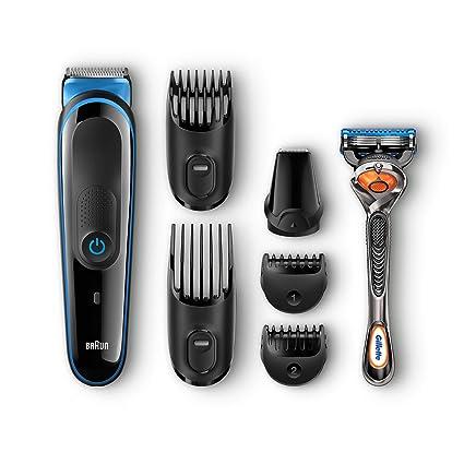 Braun MGK3045 - Afeitadora (Máquina de afeitar de láminas, Acero inoxidable, Negro, Azul, Carga, Batería, Integrado)