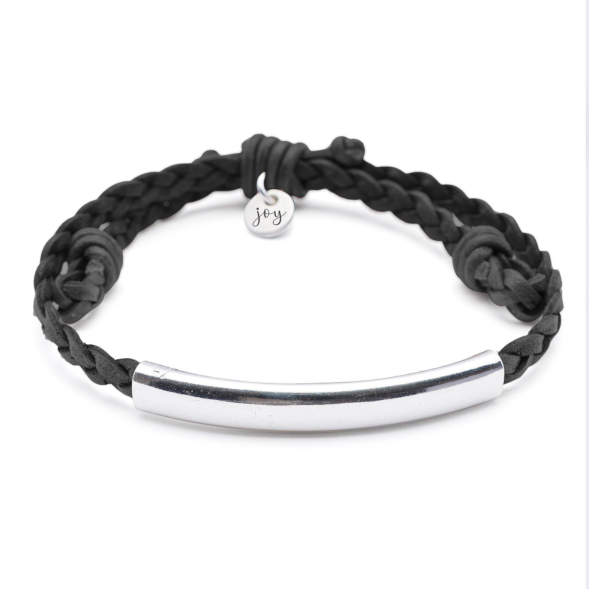 Lizzy James Wish Adjustable Braided Black Leather Bracelet with Silver Plated Crescent by Lizzy James