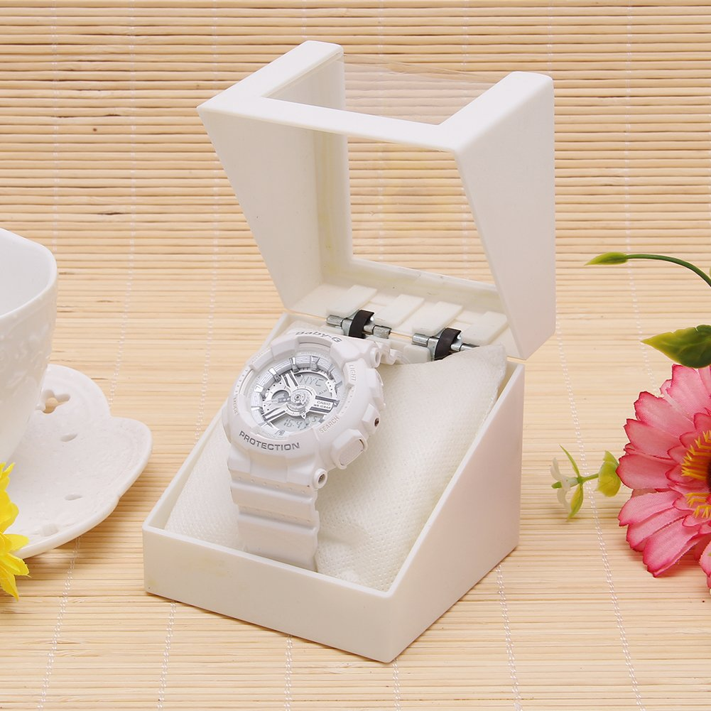 日付レッドプラスチックジュエリーイヤリング表示ケース透明腕時計ストレージボックス ホワイト Woolf's House B073P4GCBFホワイト