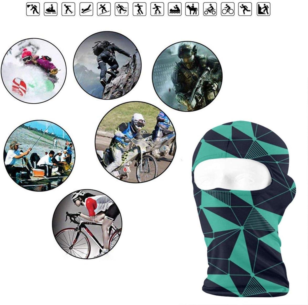 CAClifestyle Green Geometric Line Pattern Unisex Windproof Balaclavas Full Face Mask Hood