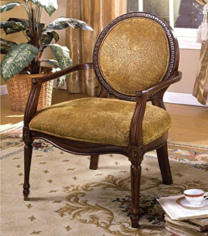 FA Furnishing Cardinal Wood Trim Accent Chair In Tapestry Gold Fabric