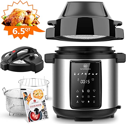6.5Qt Pressure Cooker and Air Fryer Combos, 1500W Pressure, Steamer Cooker, Air Fryer All-in-One Multi-Cooker with LED Touchscreen Display, 3-Qt Air ...