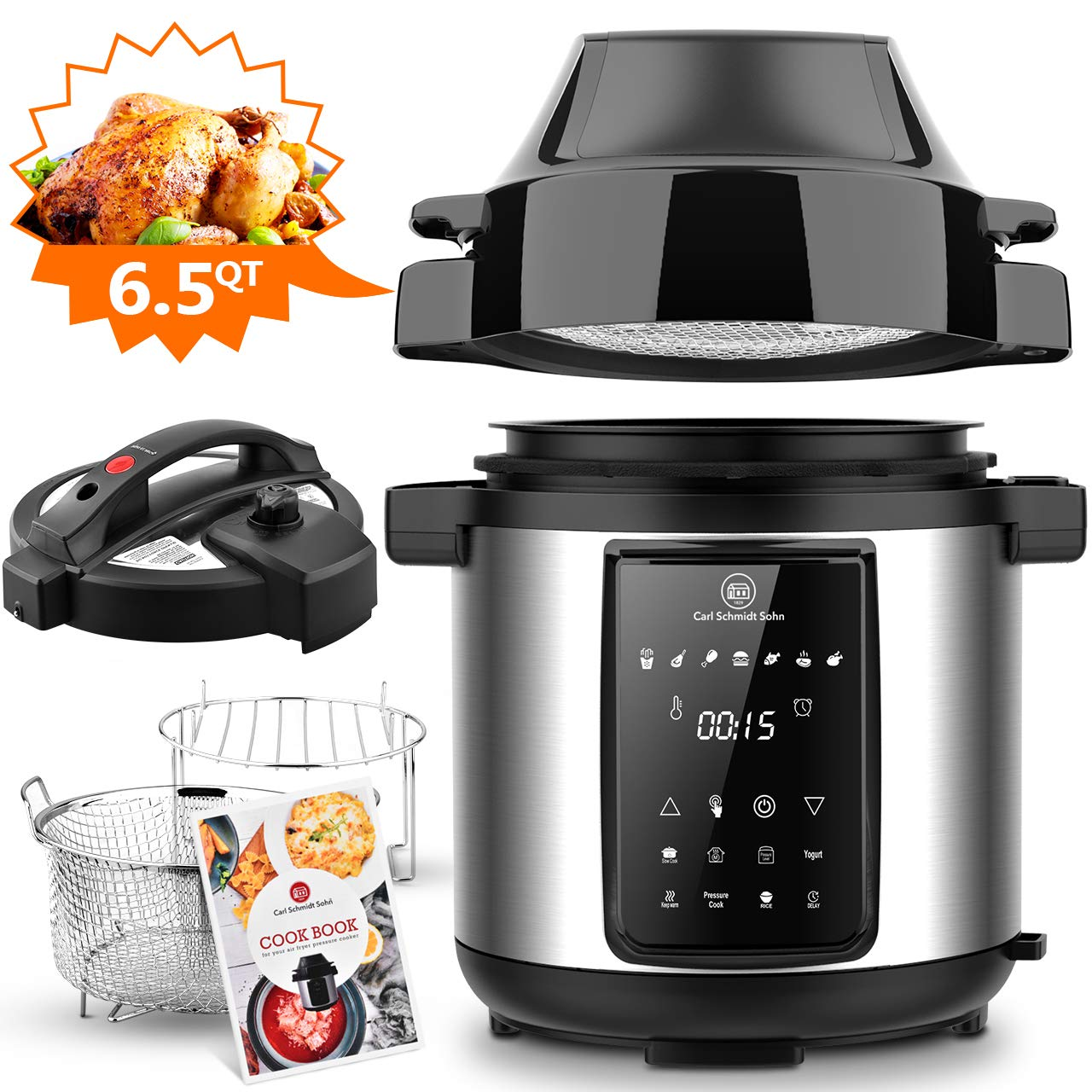 6.5Qt Pressure Cooker and Air Fryer Combos, 1500W Pressure, Steamer Cooker, Air Fryer All-in-One Multi-Cooker with LED Touchscreen Display, 3-Qt Air Fry Basket, Pressure & Crisper Lid, Free Recipe Book