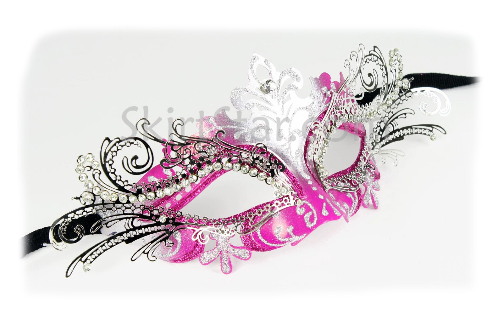 Women's Laser Cut Mask with Crystals (Silver/Hot Pink)