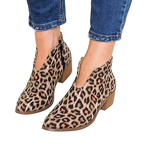 Botines Militares Tacón Ancho Medio para Mujer Invierno Primavera 2019 PAOLIAN Botas Chukka Bajo Cuña Forradas Cortas Tobillo Zapatos Piel sintético ...
