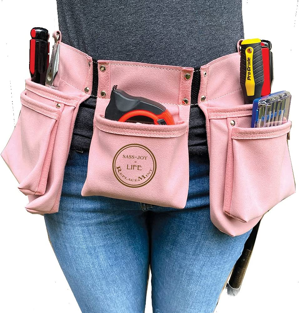 ReplaceMint Pink Tool Belt for Women - Women's Tool Belt for DIY & Home Improvement Projects - Great gift for Spring - 11 Pockets & 2 Metal Hammer Loops - MEDIUM-DUTY Tool Belt - Light Pink