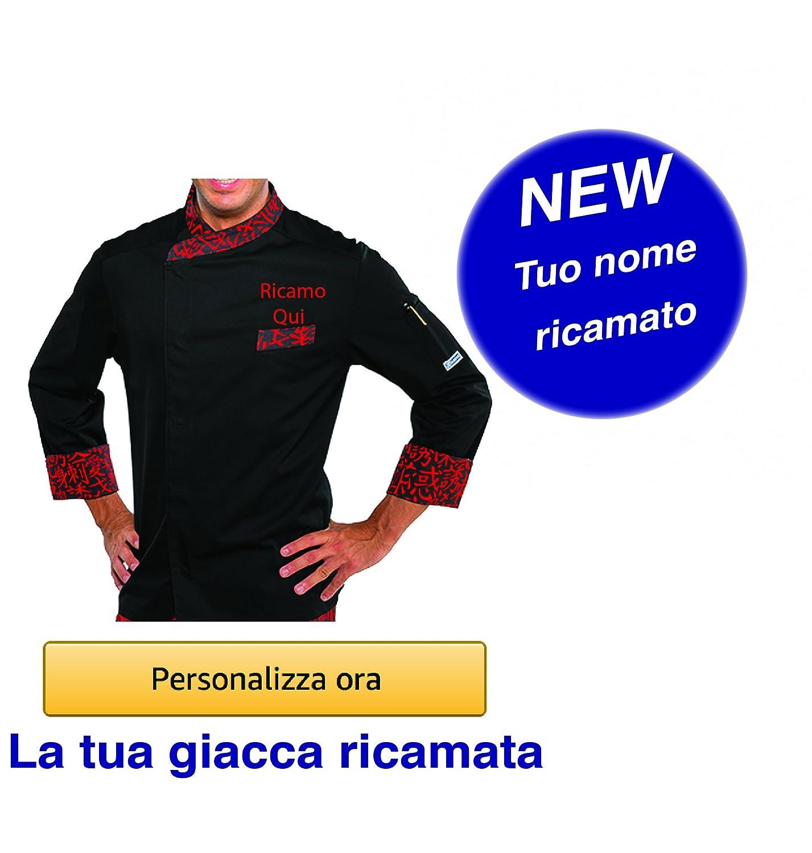 GP Industria Grafica - Isacco Giacca Cuoco Nome Ricamato Personalizzabile online Modello Durango Nero-Rosso Sushi Isacco