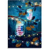 PotteLove Decorative Garden Flag Patriotic Luminaries Summer 4th of July Fireworks indoor Outside House Flags Of Double Sided Banners 28x40 Inch