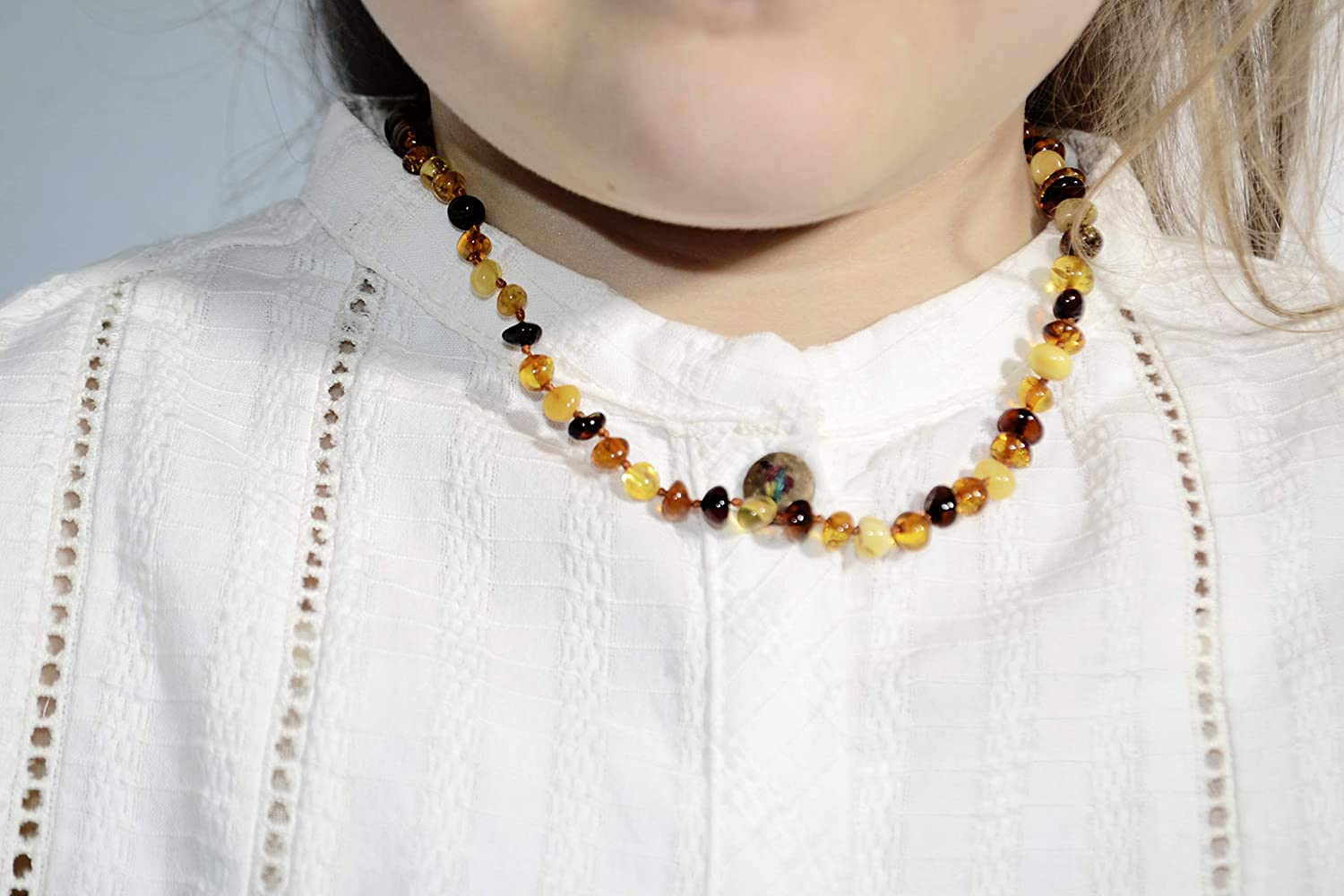 Amber Jewelry Shop Baltic Amber Necklace 13 inches Multi Color