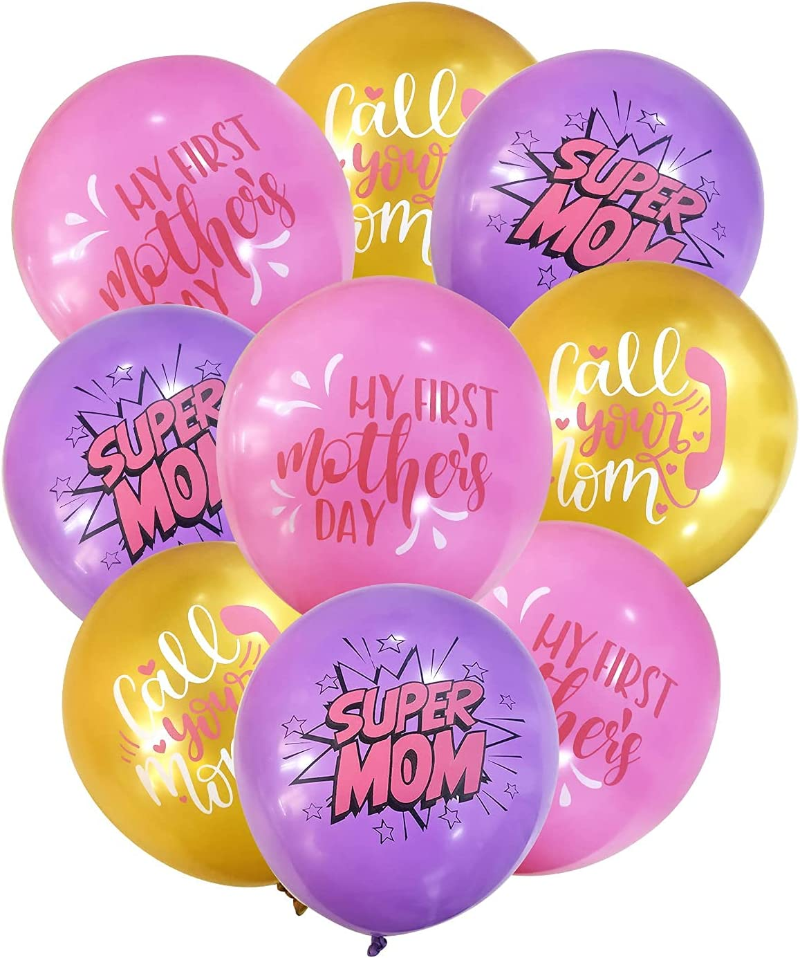 18PCS Happy Mother's Day Party Decorations Latex Balloons - Super Mom Call You Mom, Ever Party Supplies Favors Wall Decor Balloon for Mummy Day
