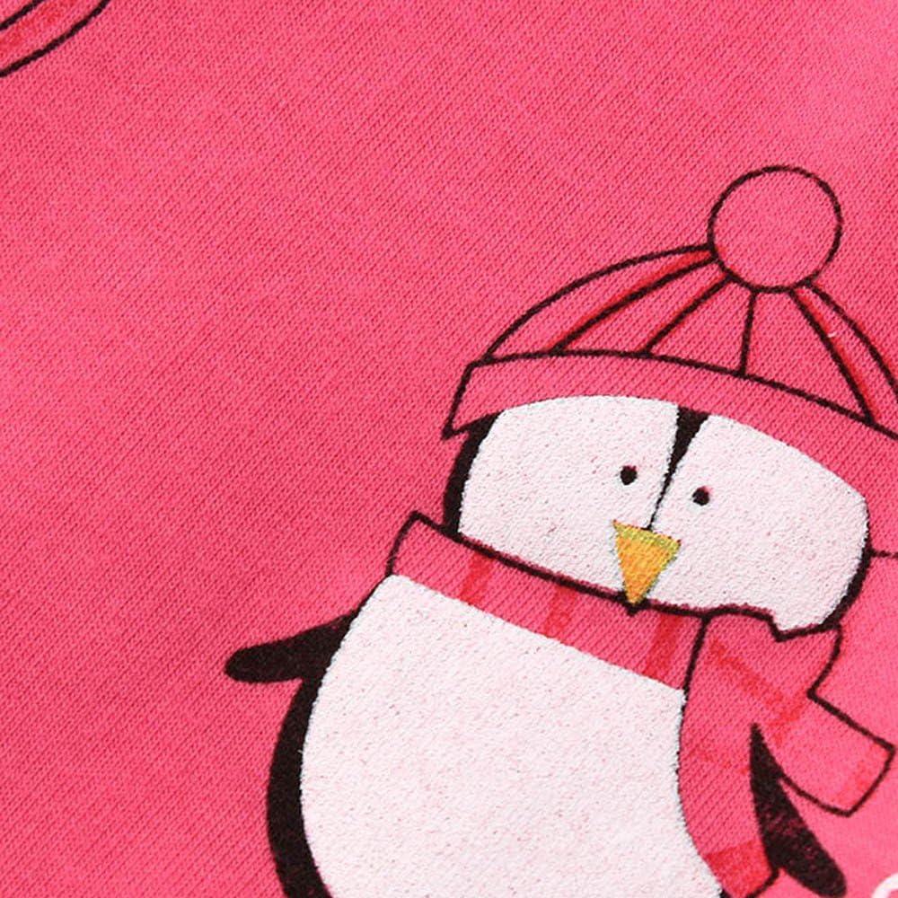 Magliette Pigiamini in Cotone Morbido Caldo Tute Due Pezzi Primavera Autunno Invernali Pigiami Bambine Pinguino 2-7 Anni Stampa Animale Camicia da Notte A Maniche Lunghe Pantaloni