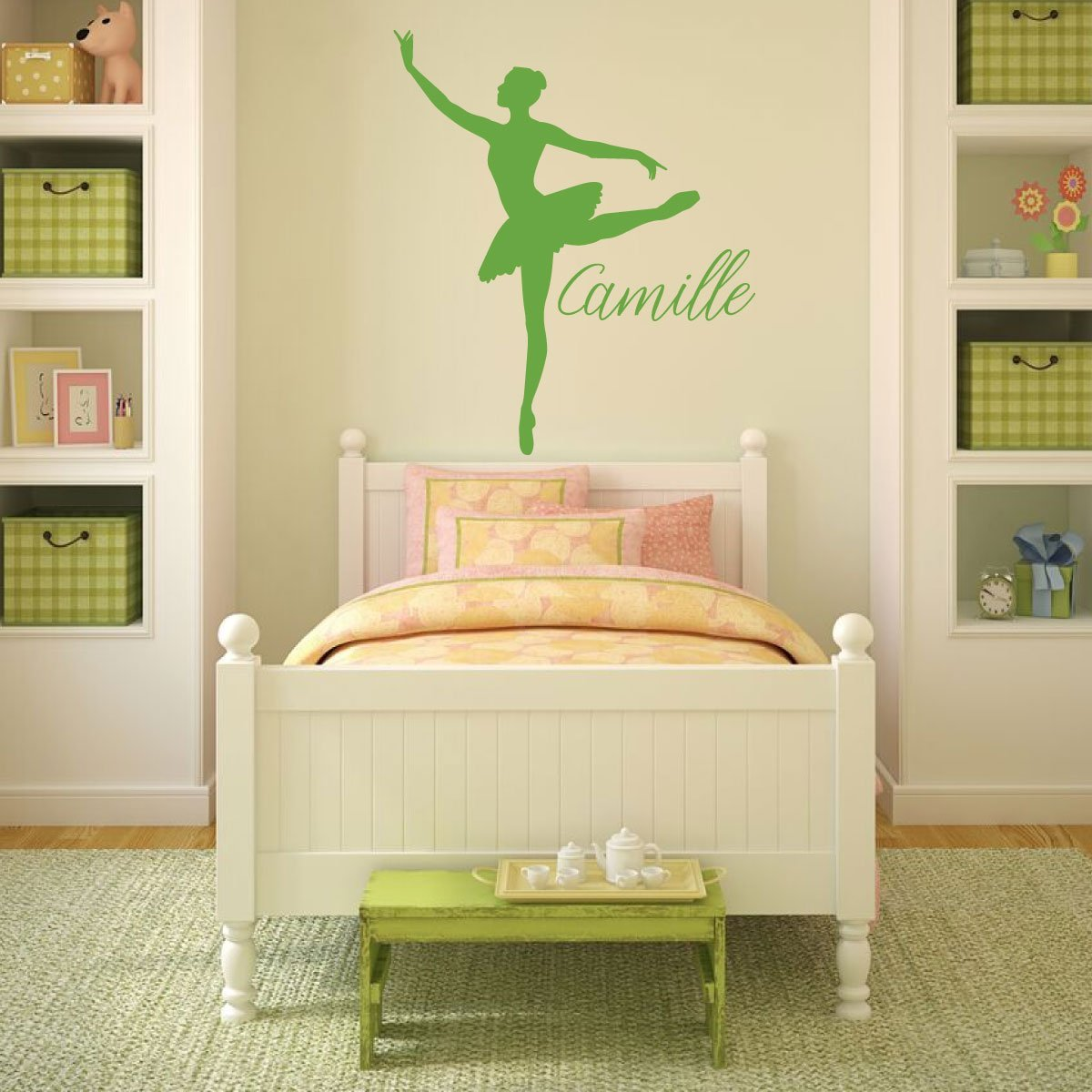 Personalized Ballet Vinyl Decal for Girls Room - Customized Color, Size, and Name Wall Sticker for Bedroom or Dance Studio