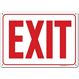 "Emergency Exit Sign, Made Out of .040 Rust-Free Aluminum, Indoor/Outdoor Use, UV Protected and Fade-Resistant, 10"" x 14"", by My Sign Center"