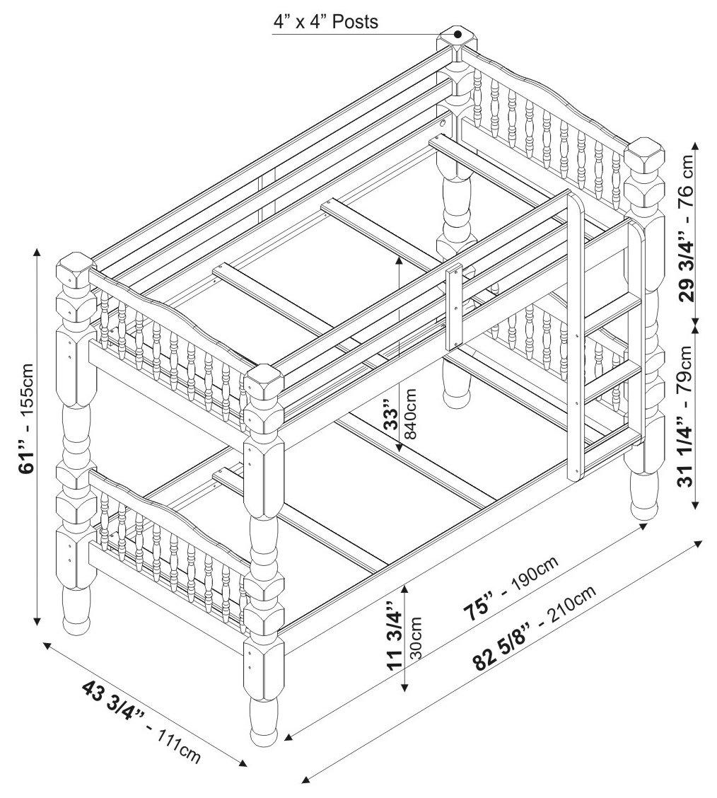 Amazon Com 100 Solid Wood Dakota Twin Twin Bunk Bed Mahogany 61