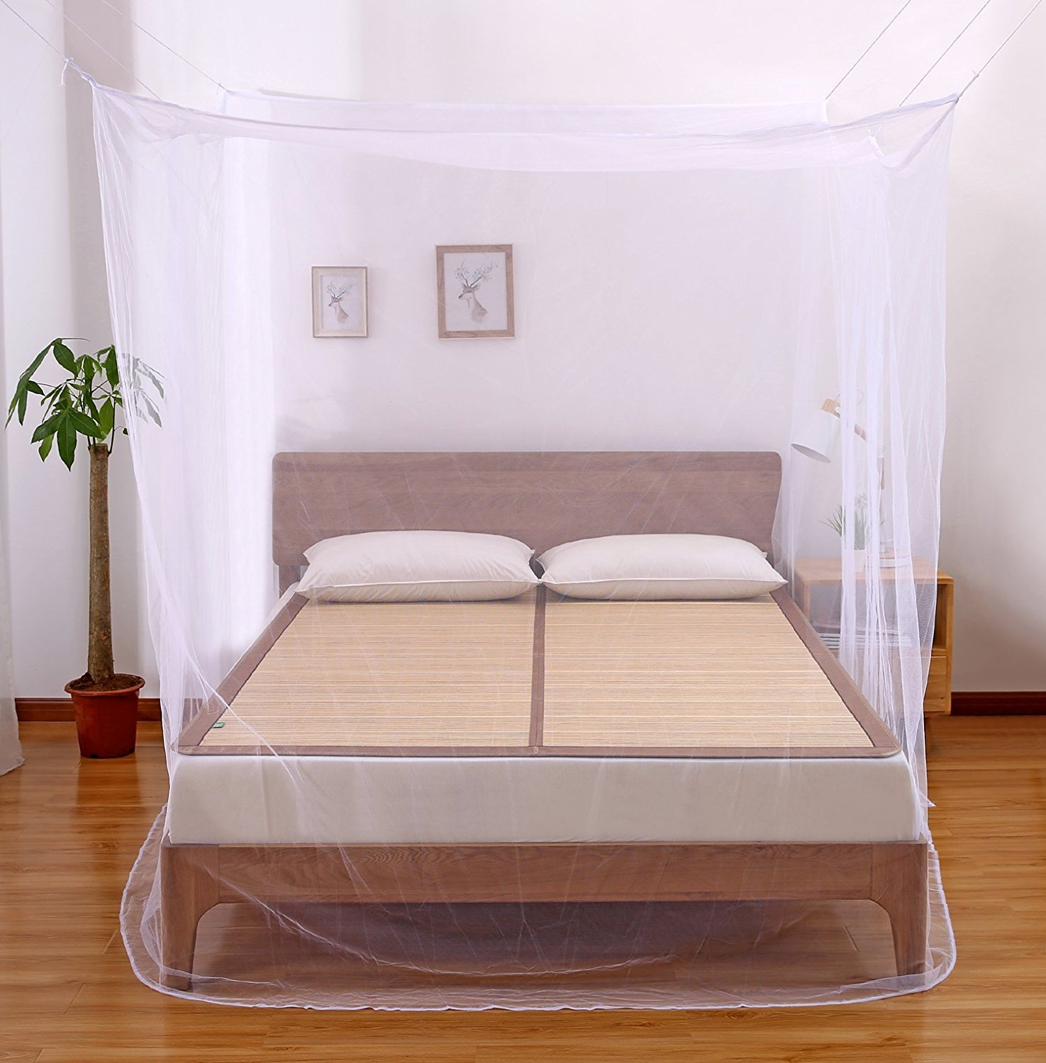 Faswin Rectangular Fine Mesh Mosquito Net for Double Bed, Two Openings Insect Protection Repellent, Including Hanging Kit and Carry Bag, Perfect for Indoors and Outdoors CA-MosquitoNet-Rectangular