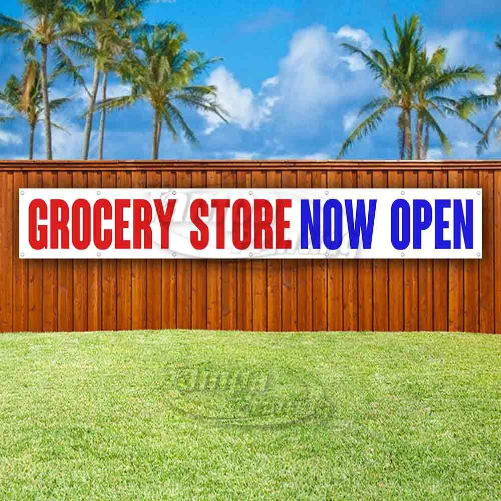Many Sizes Available New Store Flag, Advertising Grocery Store Now Open Extra Large 13 oz Heavy Duty Vinyl Banner Sign with Metal Grommets