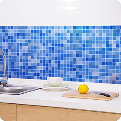 Indexp Waterproof Bathroom Toilet Tile Mosaic Wallpaper Self Adhesive Aluminized Fire Resistant Kitchen Wall Stickers Blue