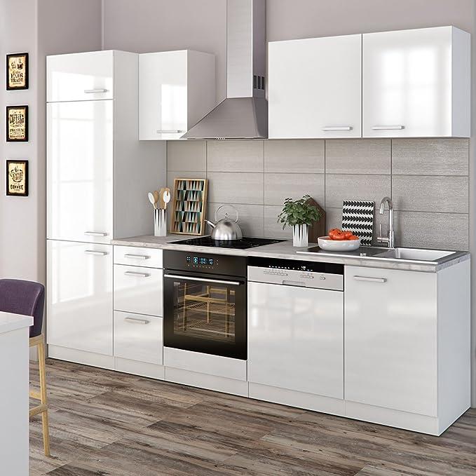 Vicco küche 270 cm inkl edelstahlspüle küchenzeile einbauküche komplettküche weiss hochglanz frei kombinierbare einheiten o line amazon de küche