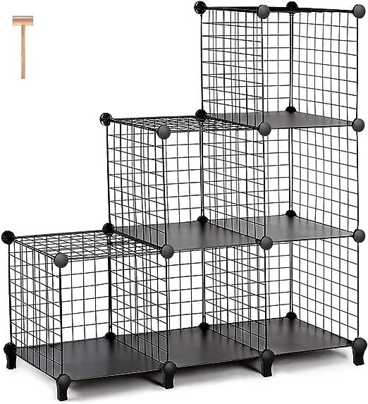 Industrial Wire Storage Shelves Magazine Rack Cube Unit Black