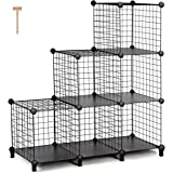 TomCare Cube Storage 6-Cube Metal Wire Cube Storage Storage Cubes Shelves Cube Closet Organizer DIY Storage Grids Stackable Storage Bins Wire Cubes Bookshelf Bookcase Modular for Home Office, Black