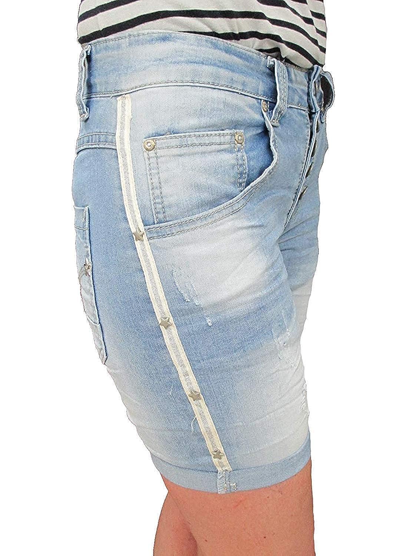 Jewelly Damen Baggy Boyfriend Capri Jeans mit Destroy Effekt GANZ NEU