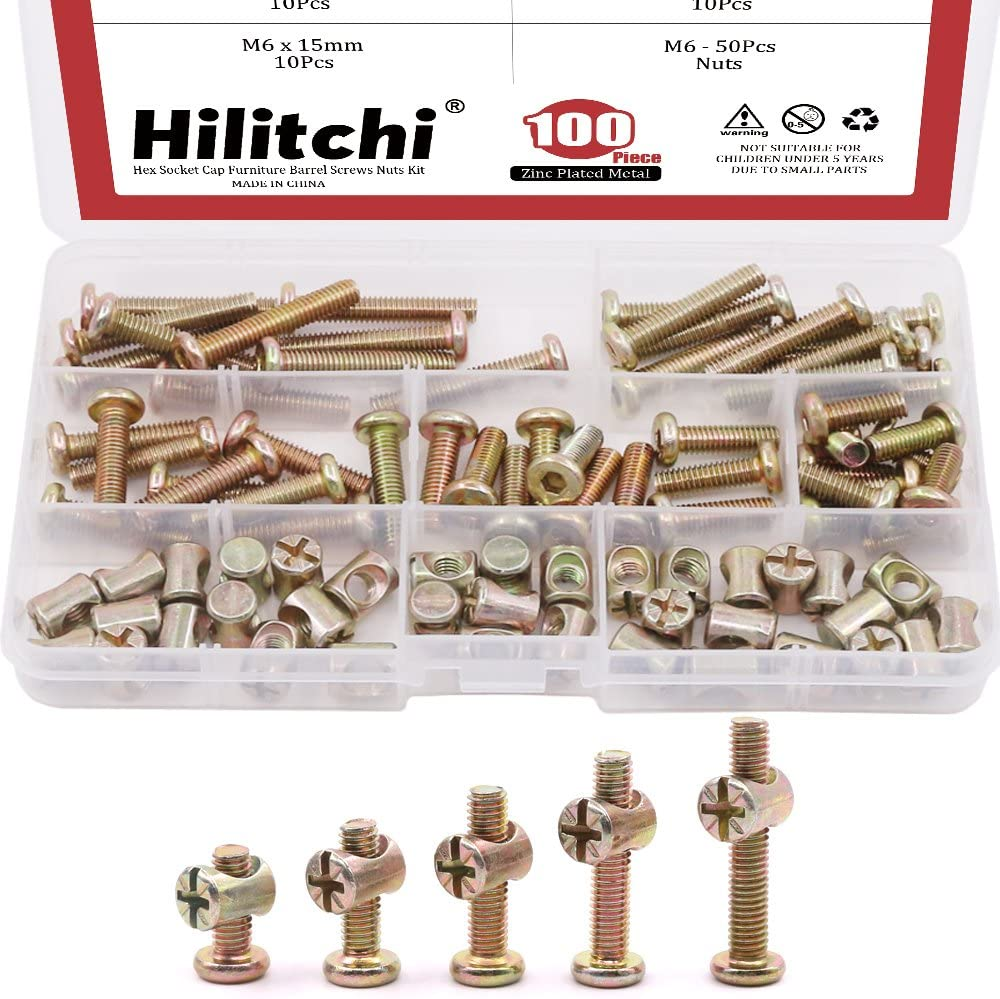 Hilitchi 100-Pcs M6 x 15/20 / 25/30 / 35mm Zinc Plated Hex Drive Socket Cap Furniture Barrel Screws Bolt Nuts Assortment Kit for Furniture Cots Beds Crib and Chairs