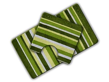 Lavabo Verde Pistacho.Antideslizante Rayas 2 Piezas Alfombrilla De Bano Y Lavabo