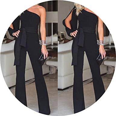 c46f05e46a0 Amazon.com  AMAZING AMAZING Jumpsuits for Women 2019 Fashion Womens Rompers  Jumpsuit Wide Leg One Shoulder Long Trousers Pants  Clothing