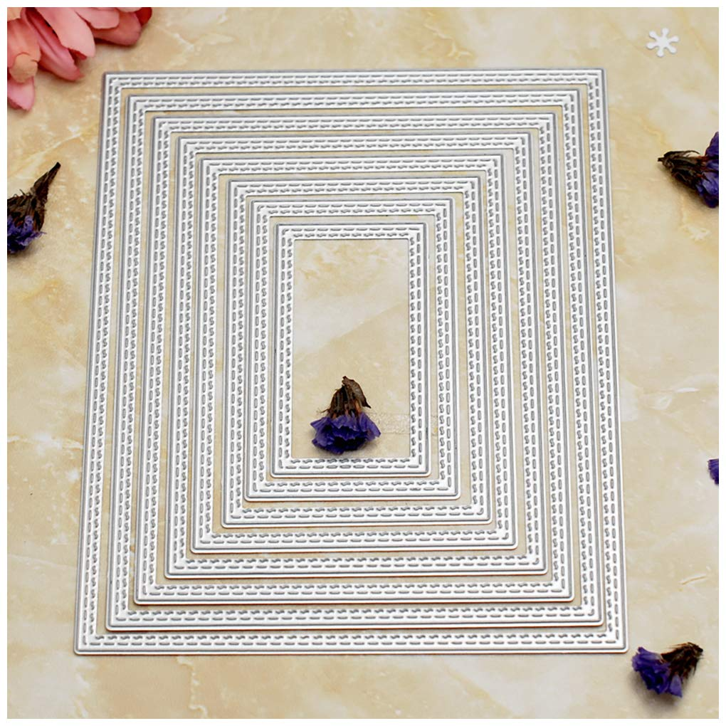 Kwan Crafts Large Size 15cm Double Sew Thread Rectangle Metal Die Cutting Dies for DIY Scrapbooking Photo Album Embossing 8062702
