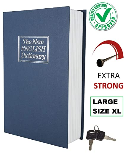 DOCOSS -Large Size XL Hidden Secret Book Safe Vault Box with 2 Keys Jewelry Money Cash Box Locker Jewellery Home Safe Box Dictionary for Office Home (Assorted Color)
