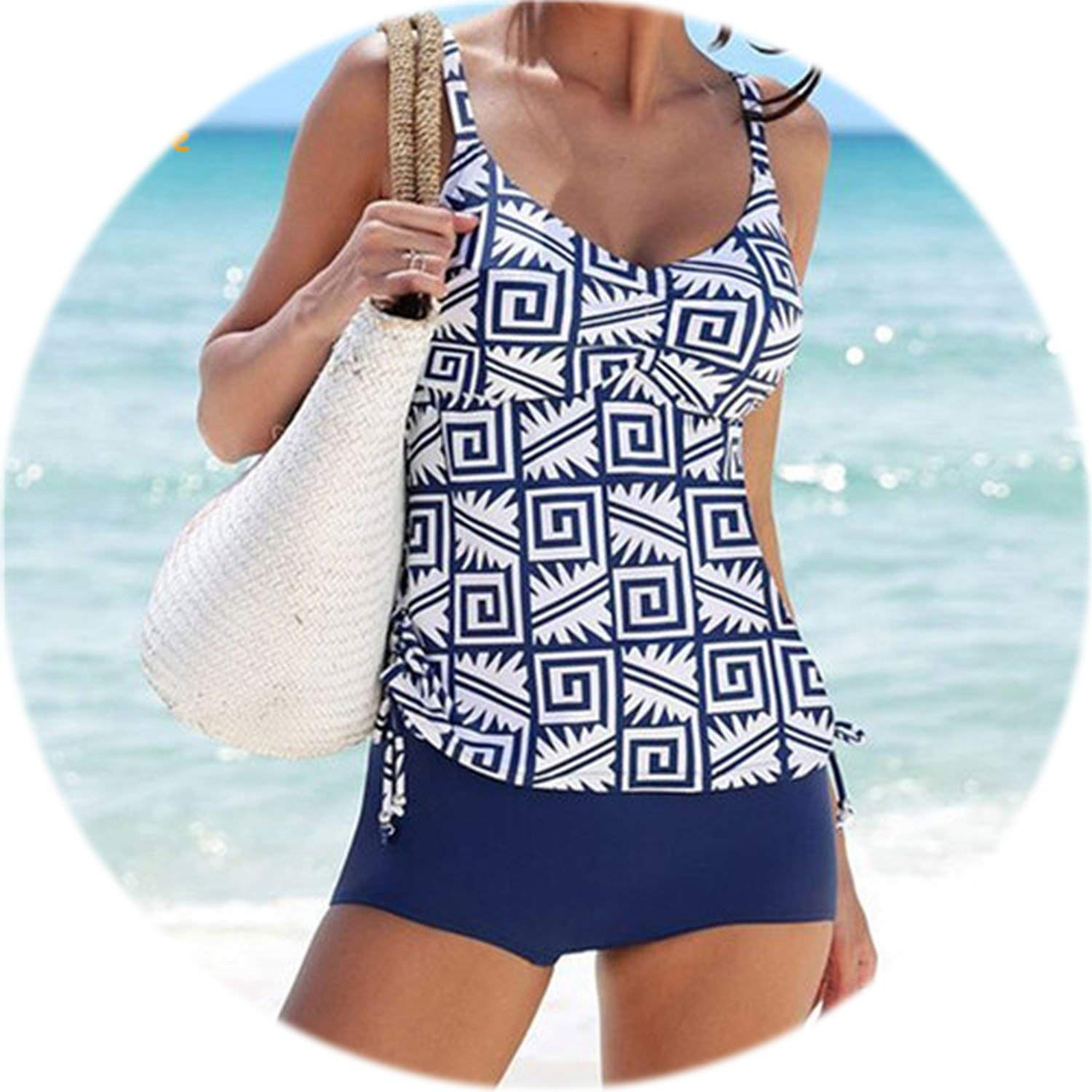 5f4ff9d50e555 Amazon.com: 2019 New Tankini Swimsuits Women Swimsuit High Waisted Bathing  Suits Vintage Retro Swimwear Beachwear XL,Print,L: Clothing