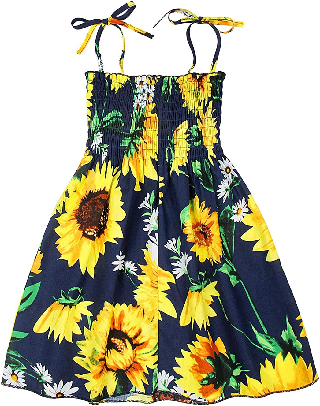 Cotrio Baby Girls Boho Summer Dress Toddler Kids Floral Casual Sundress Outfits