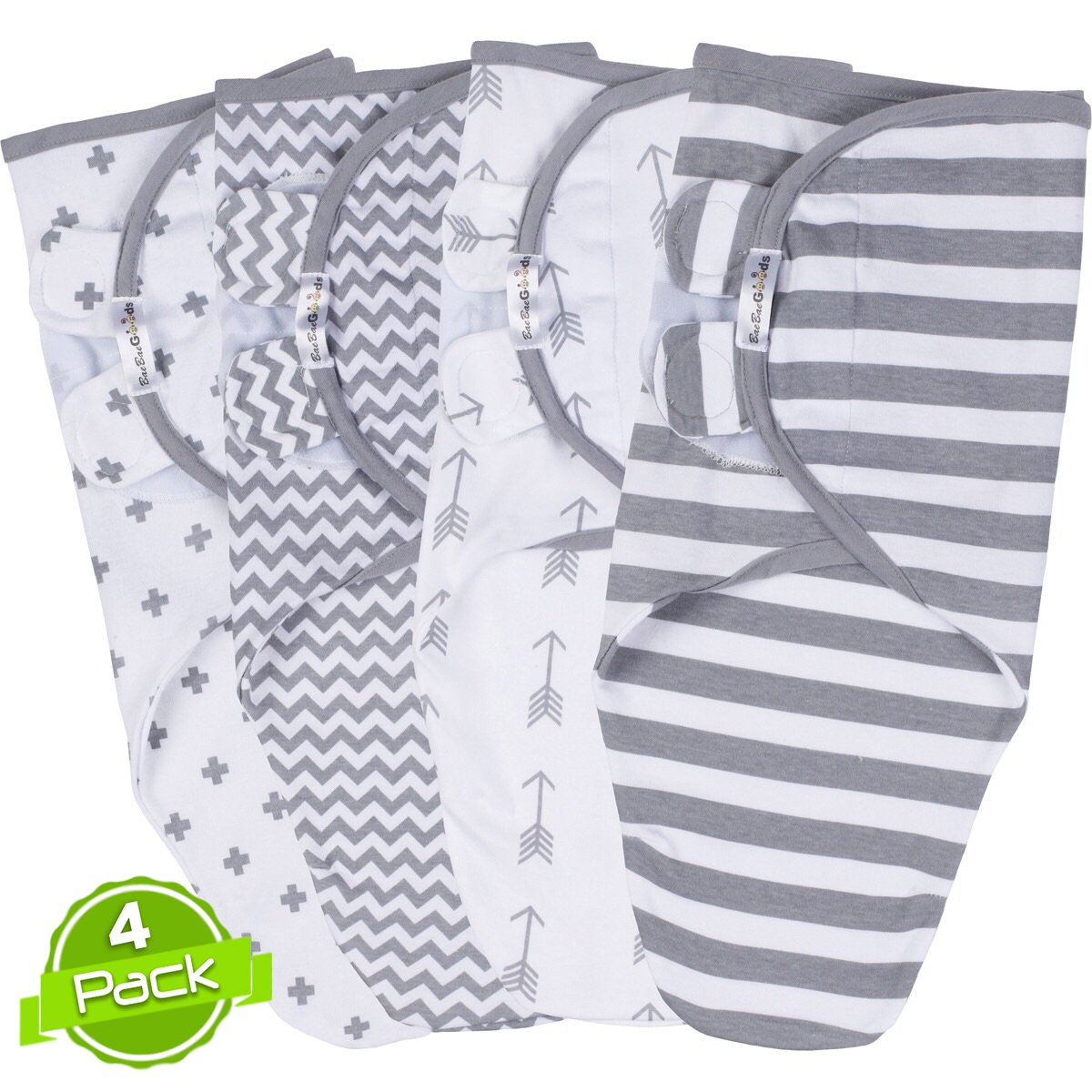 Swaddle Blanket, Adjustable Infant Baby Wrap Set of 4, Baby Swaddling Wrap Blankets Made in Soft Cotton, by BaeBae Goods …