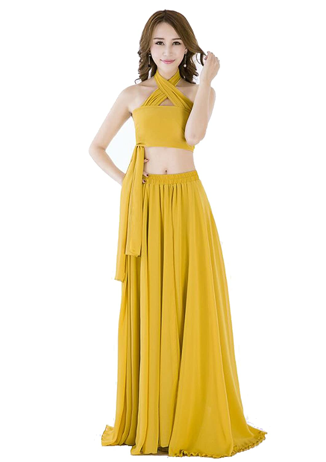 ea90195be596 Amazon.com: Sinreefsy Summer Chiffon High Waist Pleated Big Hem Floor/Ankle  Length Beach Maxi Skirt for Women Wedding Party: Clothing