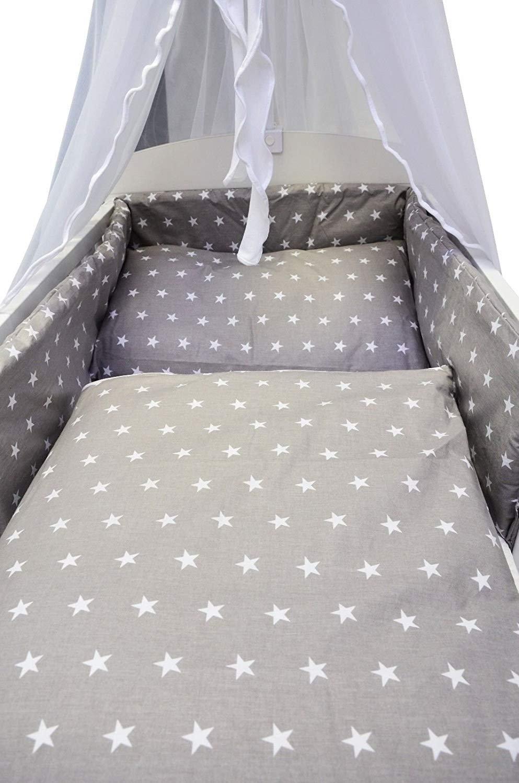 Best For Kids Komplettset Babybett Gitterbett 60x120 cm in weiß mit Bettwäsche inkl. Decke und Kissen - 6 Design (Sterne grau)