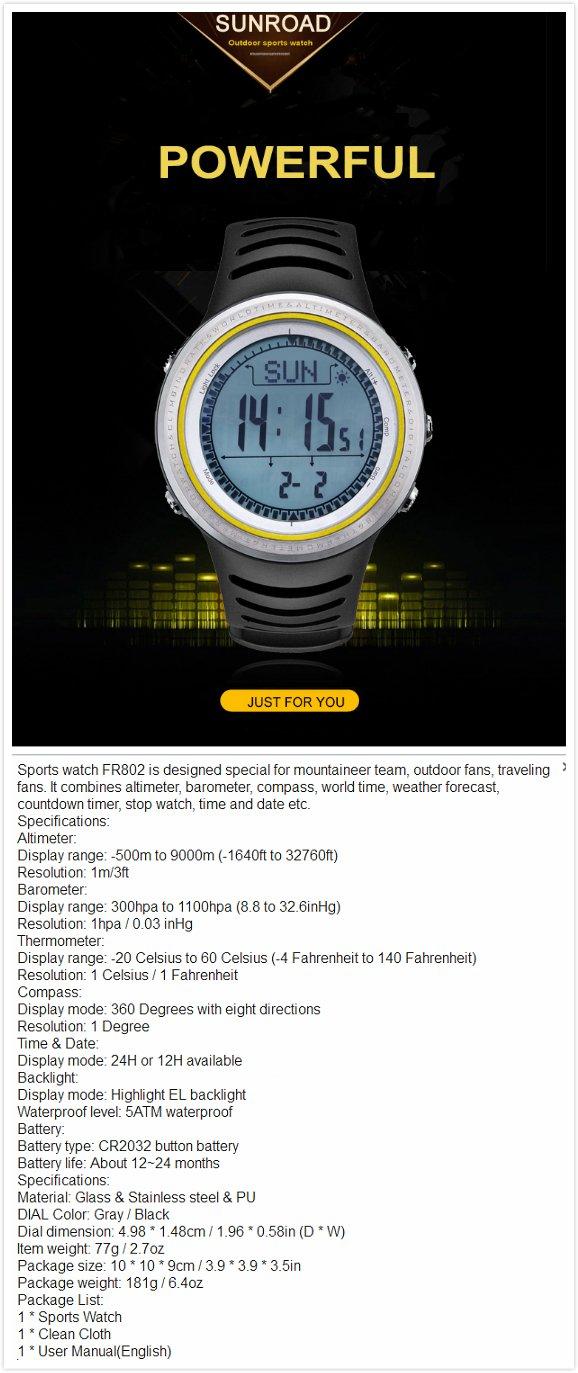 FR802 5ATM Waterproof Altimeter Compass Stopwatch Fishing Barometer Pedometer Outdoor Sports Watch by YARUIFANSEN