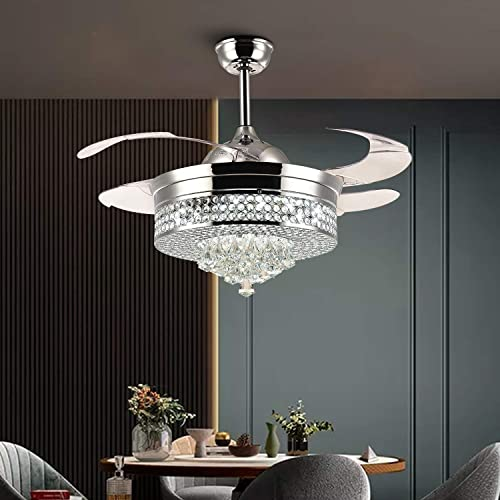 NOXARTE Crystal Ceiling Fan Chandelier Retractable Invisible Blades LED Dimmable Remote Control Lighting Fixture