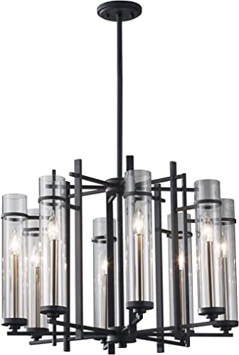 Feiss F2628/8AF/BS Ethan Glass Candle Chandelier Lighting