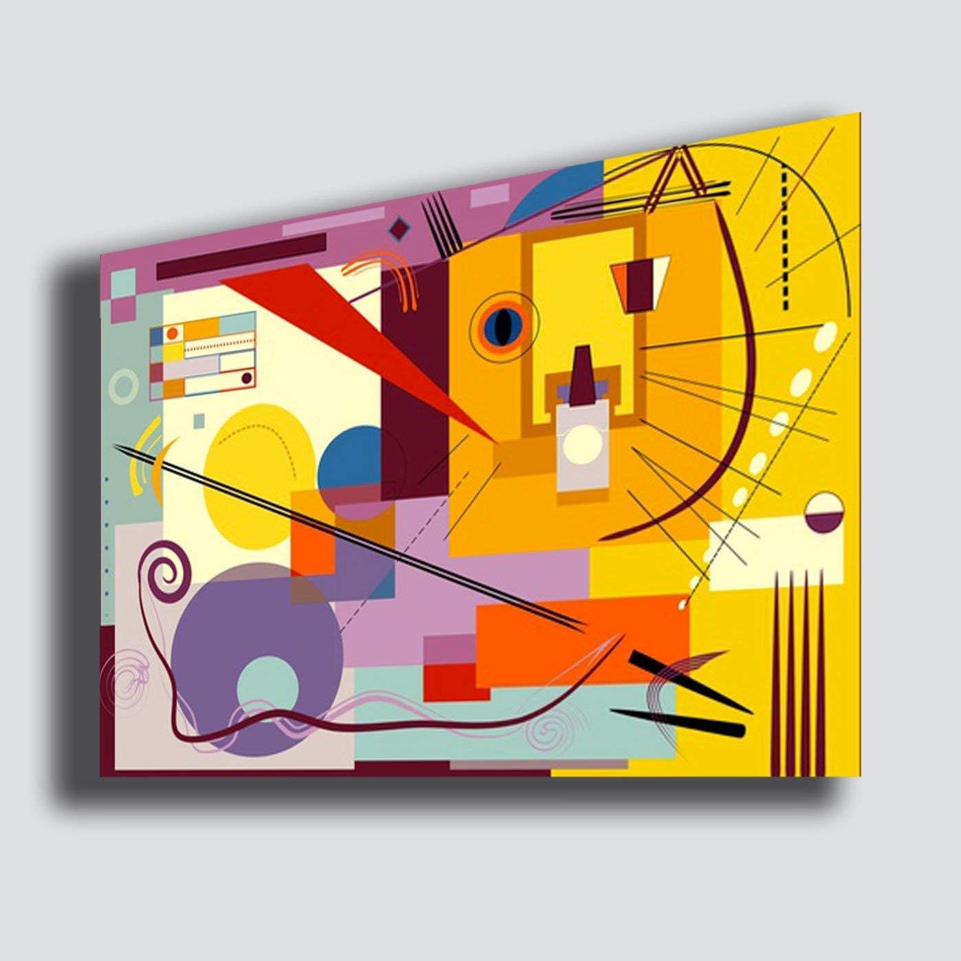 Cuadro Moderno Kandinsky Estilo 70 x 100 cm Composición Amarillo Violeta Abstracto - Reparación impresión sobre Lienzo Lienzo Dormitorio Grande Cuadros Modernos Arte Abstracto Cocina salón