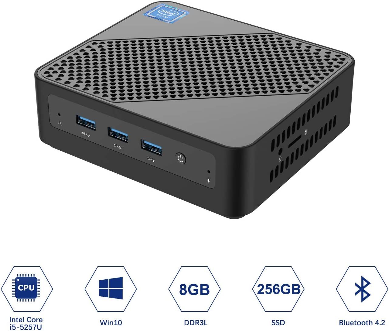 U700 Mini PC Intel Core i5-5257U Windows 10 Pro Mini PC Desktop Computer,Expandable RAM 8GB DDR3L+256GB SSD, HDMI/Mini DP/USB-C 4K Salida, 2 x Ethernet, 3 x USB 3.0,Support Chromium & Linux OS