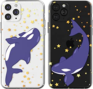 Toik Matching Couple Cases for Apple iPhone 11 Pro Xs Max Xr 10 X 8 Plus 7 6s 5s SE Protective Killer Whales Sea TPU Fish Cute BFFs Stars Lightweight Silicone Print Orca Animal Soulmate Gift Slim