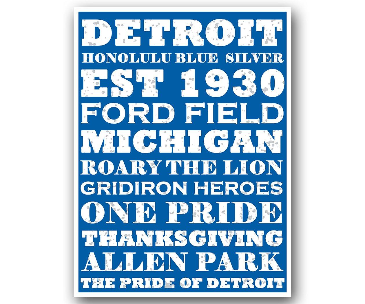 Detroit LionsポスターSubwayスタイルアートフットボールNFL印刷12 x 16