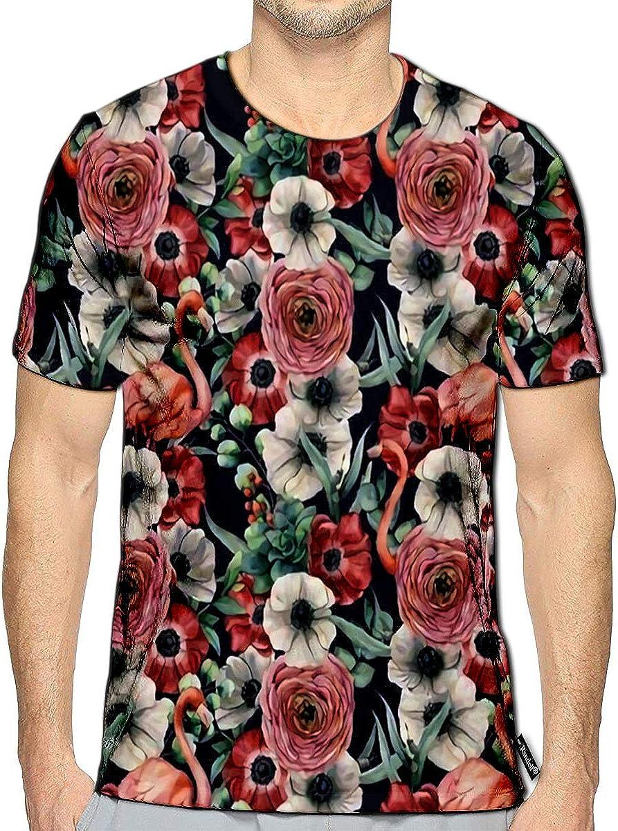 Randell 3D Printed T-Shirts Sketch Flower Short Sleeve Tops Tees