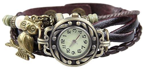 Boolavard® TM Uhr Leder Armbanduhr Armreif Damenuhr Lady Quarz Bracelet Beads Watch Geschenk Gift