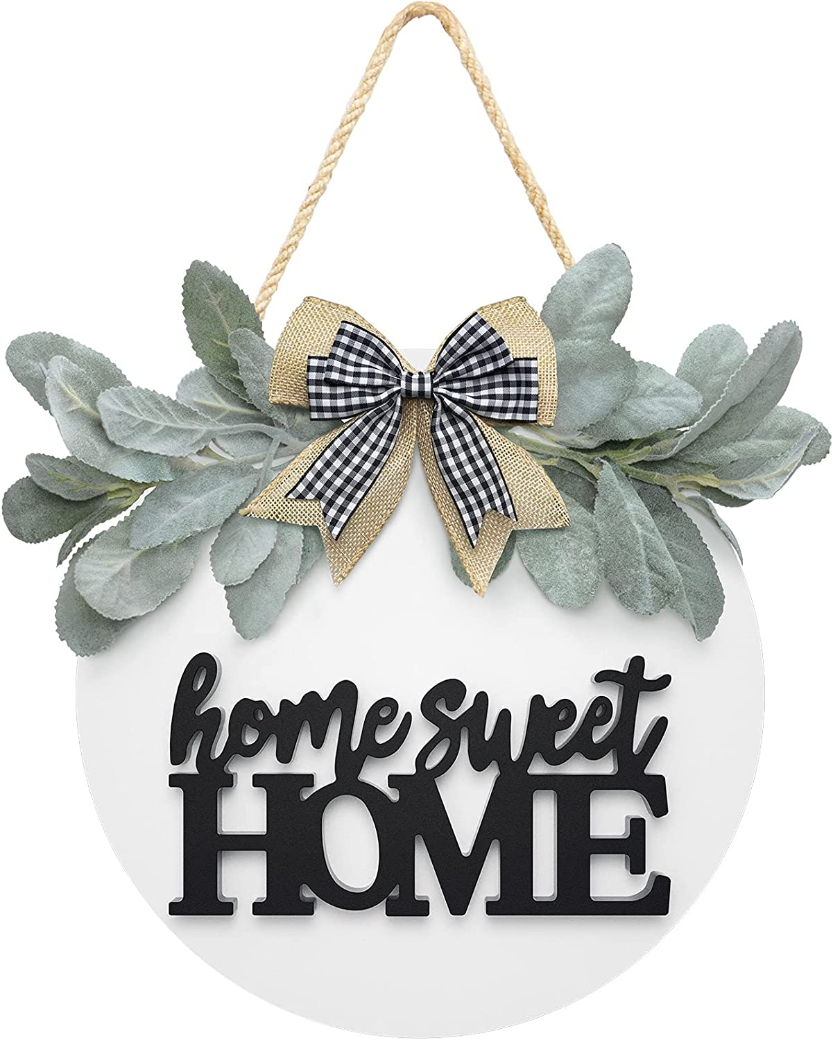 Welcome Home Sweet Home Sign for Front Porch Door Décor Farmhouse Wreath Sign with Premium Greenery and Bow- Wooden Door Sign for Wreath Door Hanger, Housewarming for Home Décor
