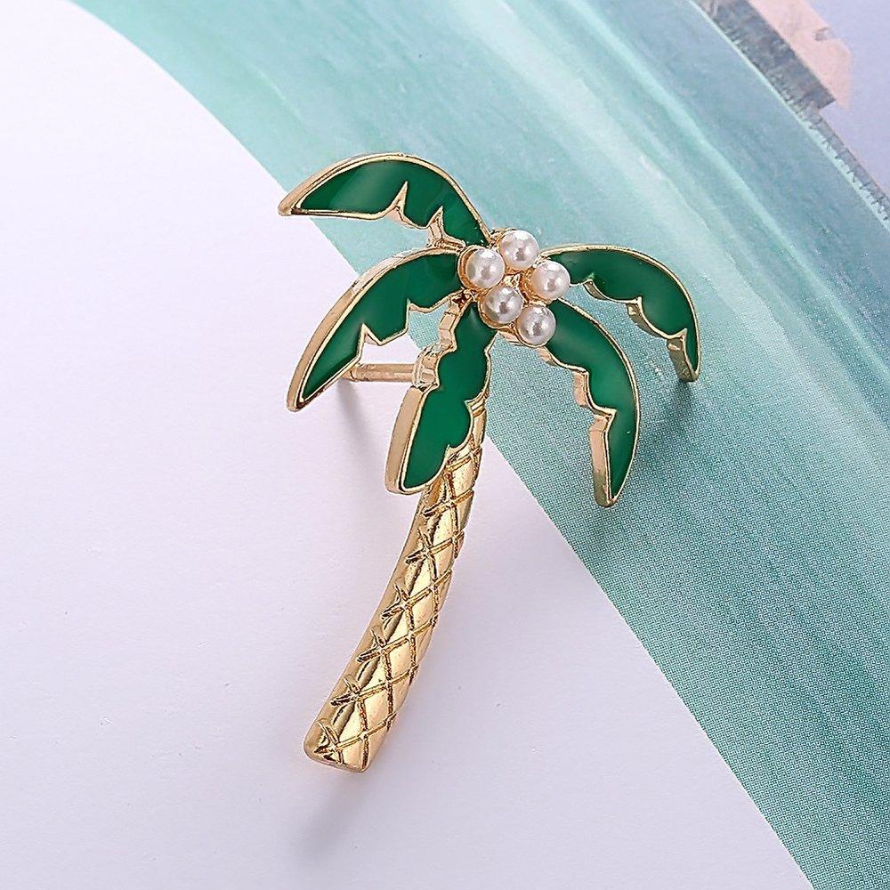 d7230b2ec AOCHEE Enamel Coconut Palm Brooch Pin Green Leaves pearl Tree Brooch Lapel  Stick Pin For Hat larger image