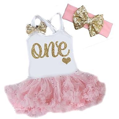 Amazon Com G G Cute 2 Pc Baby Girls One Year Old Tutu Dress Pink
