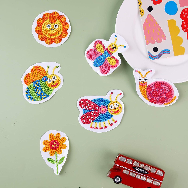 CUENE 18pcs 5D Diamond Painting Kits for Kids Cartoon Diamond Sticker Painting Environmentally Friendly Resin Diamond Painting Stickers Kits for Children Boys and Girls Gifts