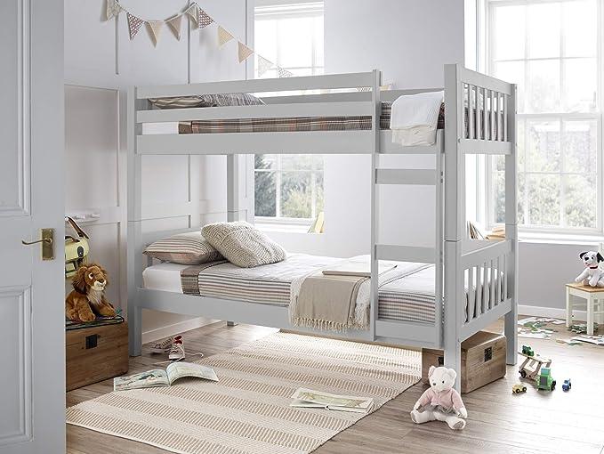 Inspiration Beds Premium Barcelona - Litera Corta de Madera con Dos colchones cómodos, Color Gris: Amazon.es: Hogar