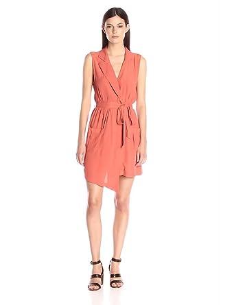 MINKPINK Women's Little Lolita Sleeveless Faux Wrap Shirt Dress, Terracotta, X-Small